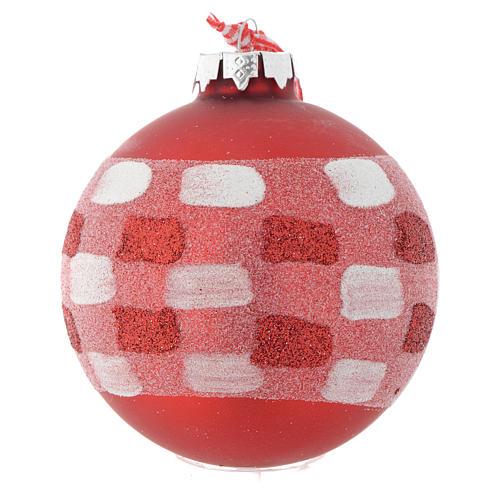 Bola vidrio roja árbol de Navidad 90 mm 3