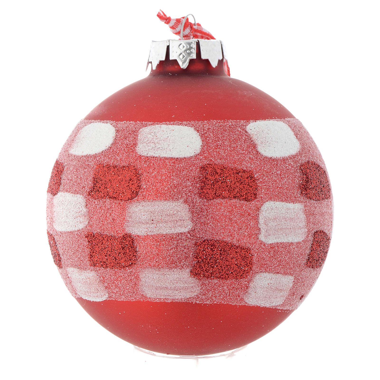 Palla vetro rossa Albero di Natale 90 mm 4