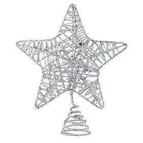 Adornos de madera y pvc para Árbol de Navidad: Punta del Árbol de Navidad Estrella con glitter plata