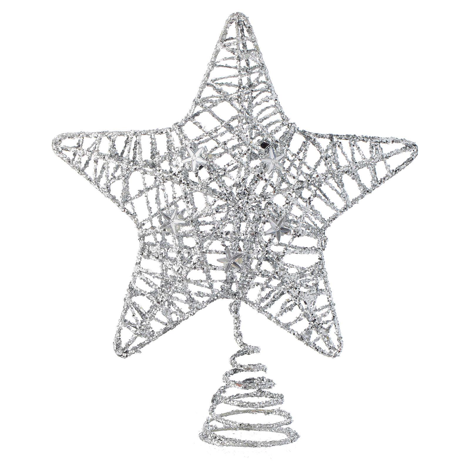 Puntale Albero Natale stella glitterata argentata 4