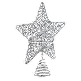 Puntale Albero Natale stella glitterata argentata s2