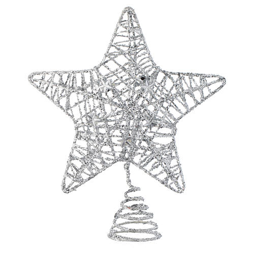 Puntale Albero Natale stella glitterata argentata 1