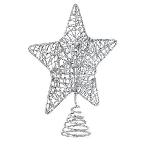 Puntale Albero Natale stella glitterata argentata 2