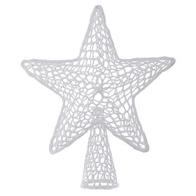 Topper for Christmas tree with embroidered star, white s1