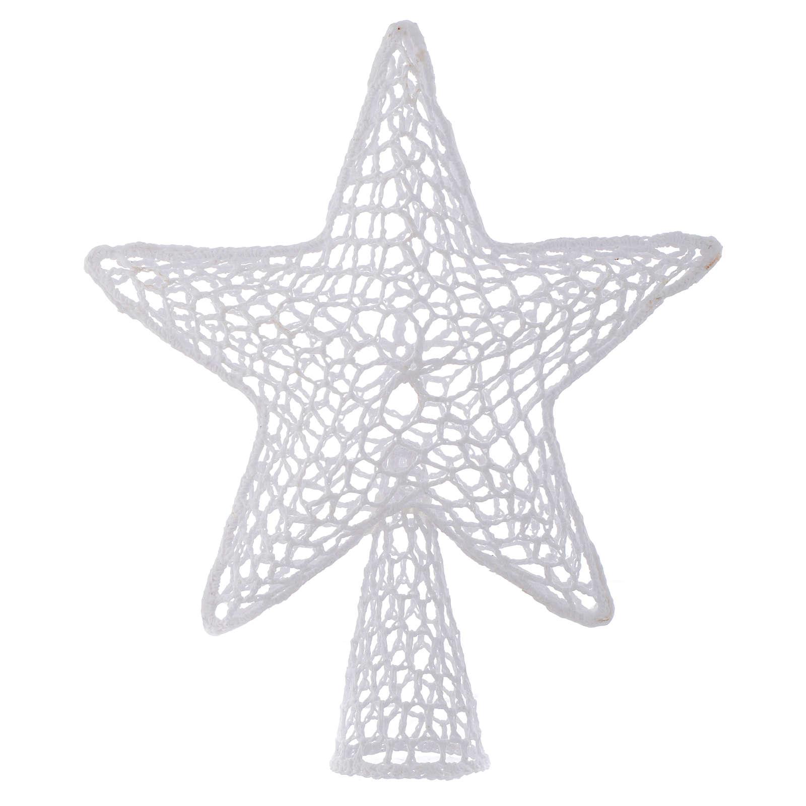 Punta Árbol de Navidad Estrella bordado blanco 4