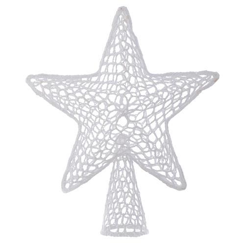 Punta Árbol de Navidad Estrella bordado blanco 1