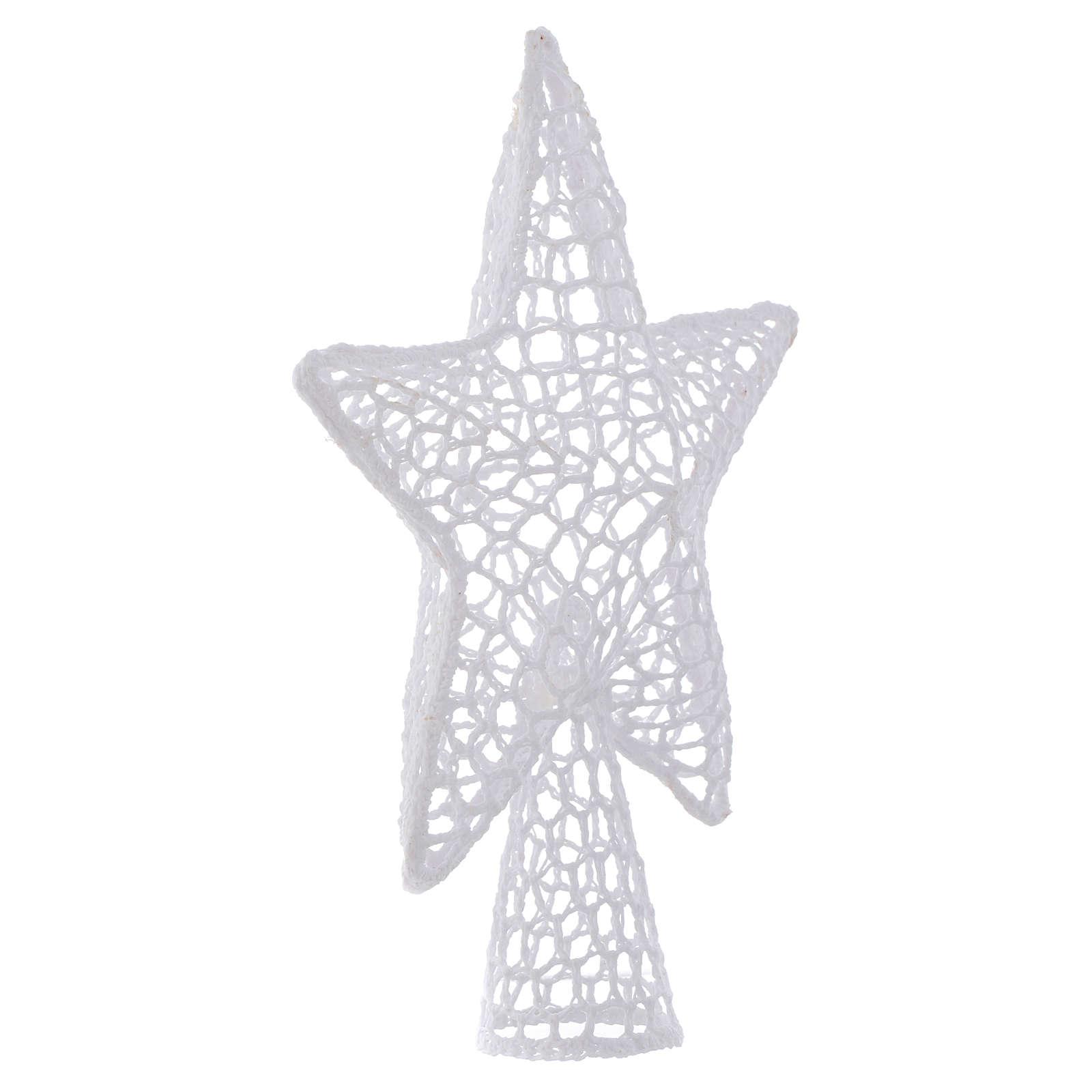 Ozdoba na czubek choinki gwiazda haft biała 4
