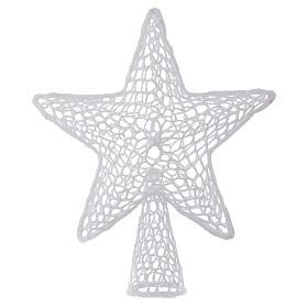 Ozdoba na czubek choinki gwiazda haft biała s1