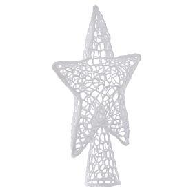 Ozdoba na czubek choinki gwiazda haft biała s2
