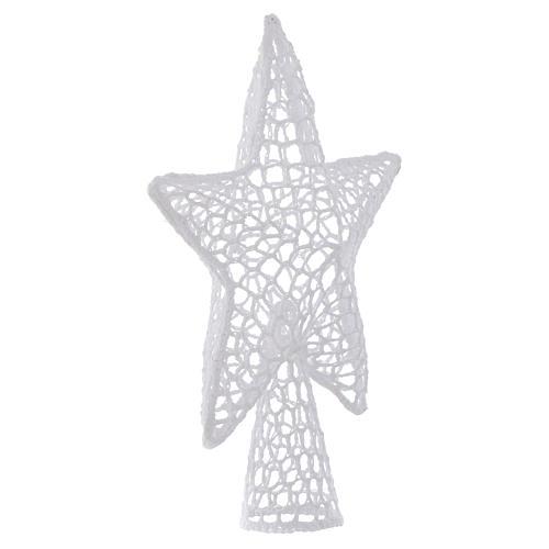 Ozdoba na czubek choinki gwiazda haft biała 2