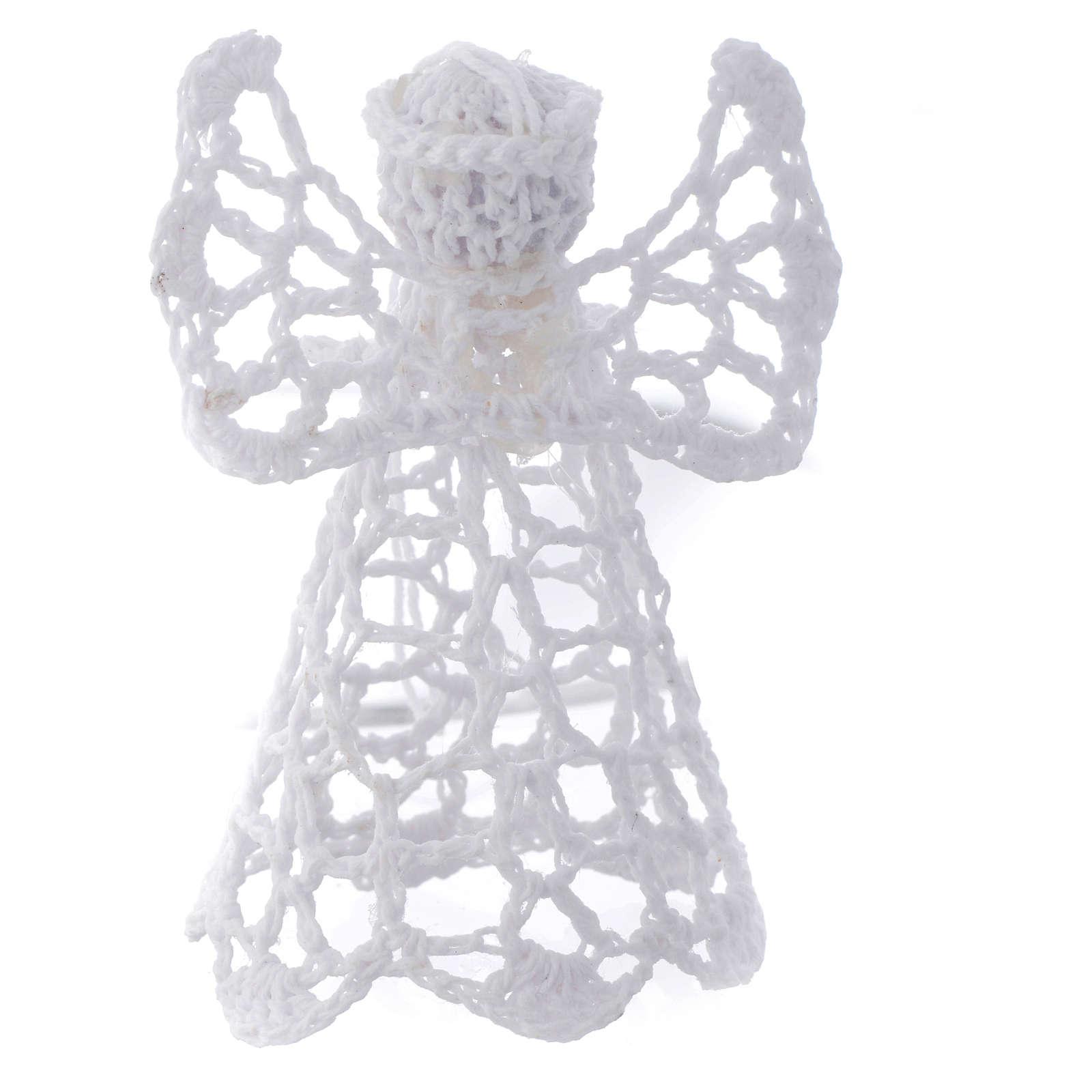 Adorno árvore Natal anjo bordado branco 4