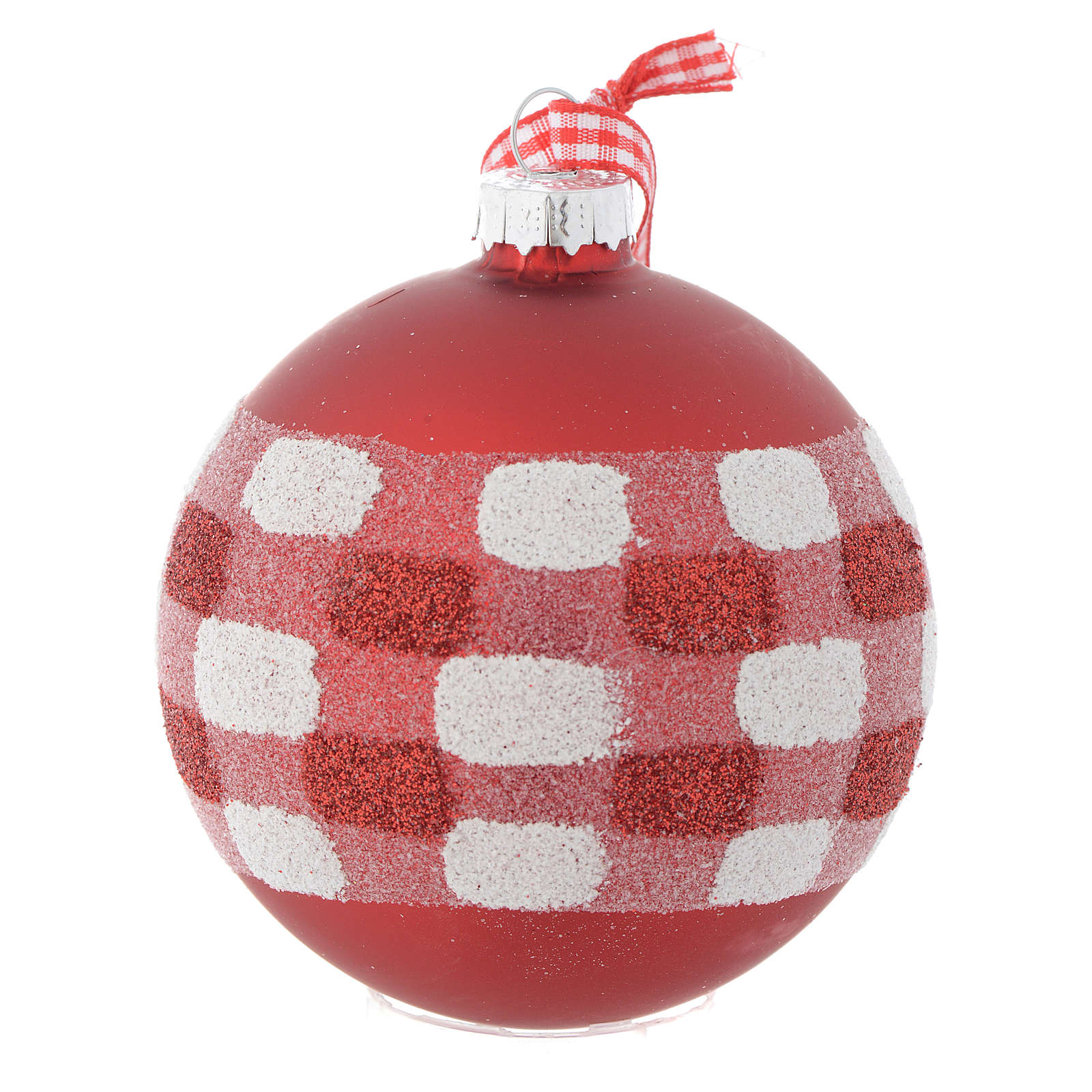 Red Christmas tree bauble in glass 80mm 4