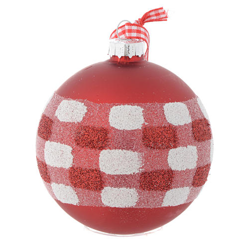 Red Christmas tree bauble in glass 80mm 3