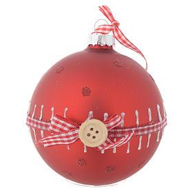 Bola árbol de Navidad vidrio roja 80 mm s1