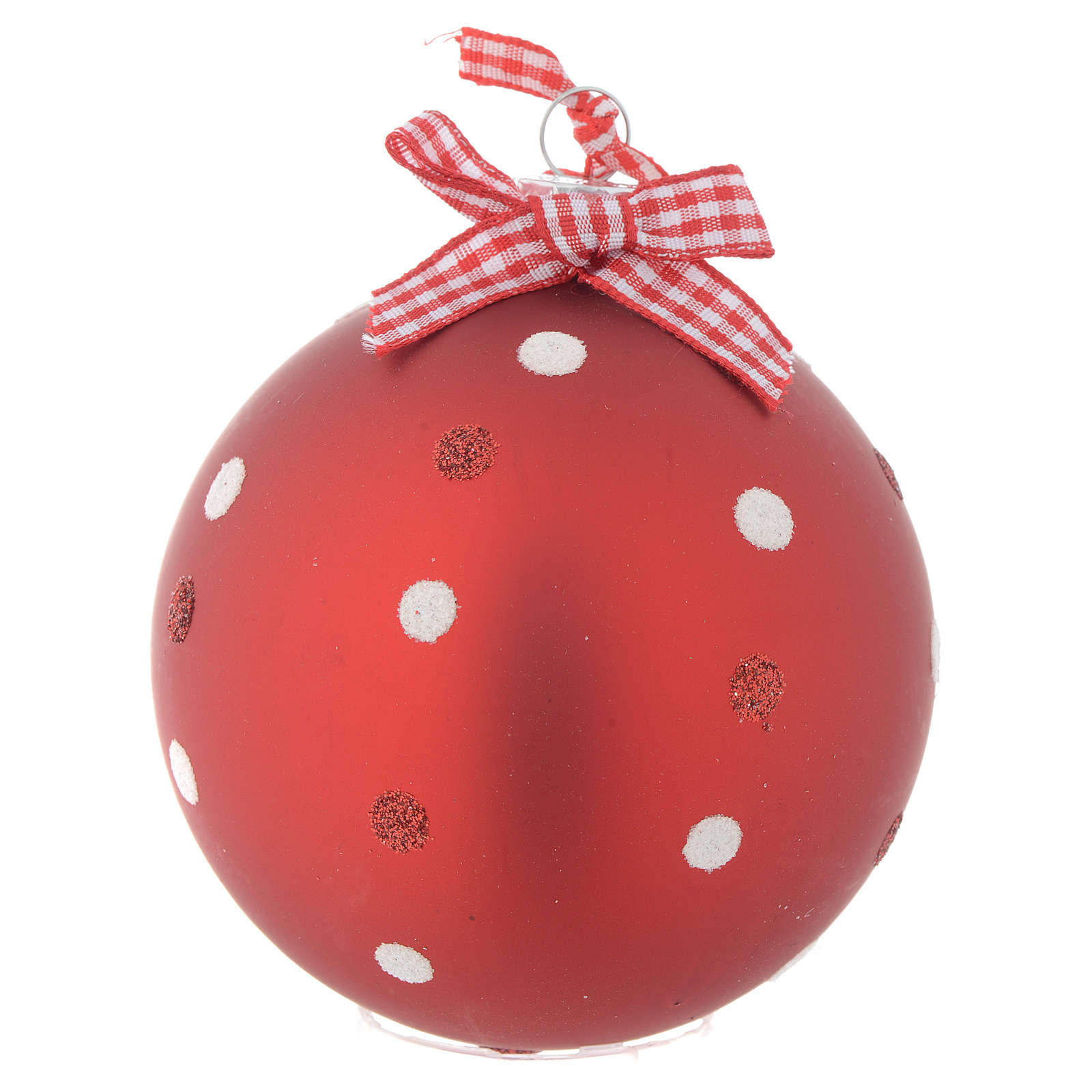 Palla Albero Natale 80 mm vetro rosso 4