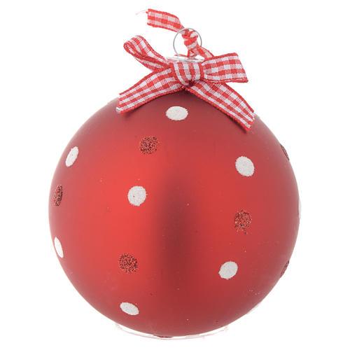 Palla Albero Natale 80 mm vetro rosso 2