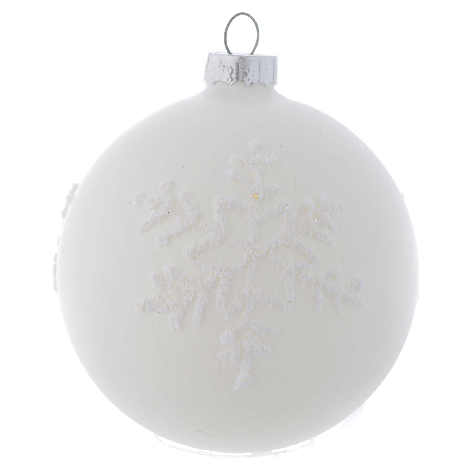 Glass bauble, with shades of white, 80mm diameter 4