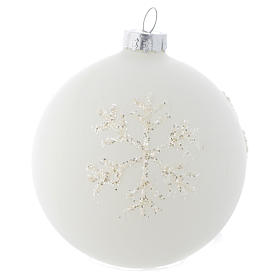 Glass bauble, with shades of white, 80mm diameter s1
