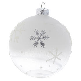 Glass bauble, with shades of white, 80mm diameter s2