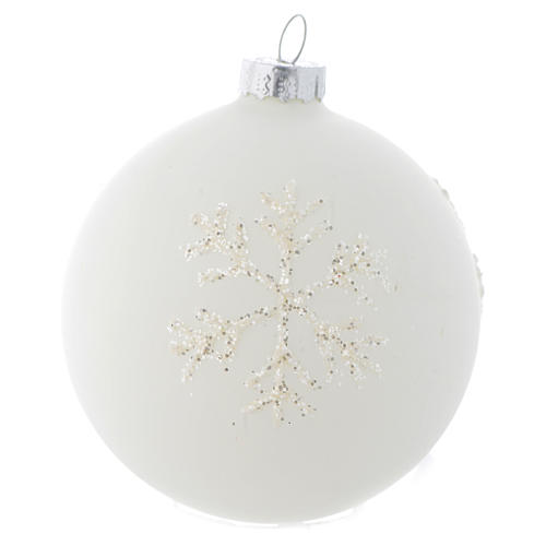 Glass bauble, with shades of white, 80mm diameter 1