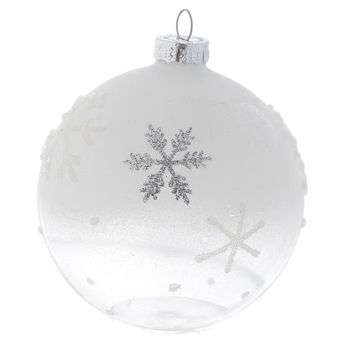 Glass bauble, with shades of white, 80mm diameter 2