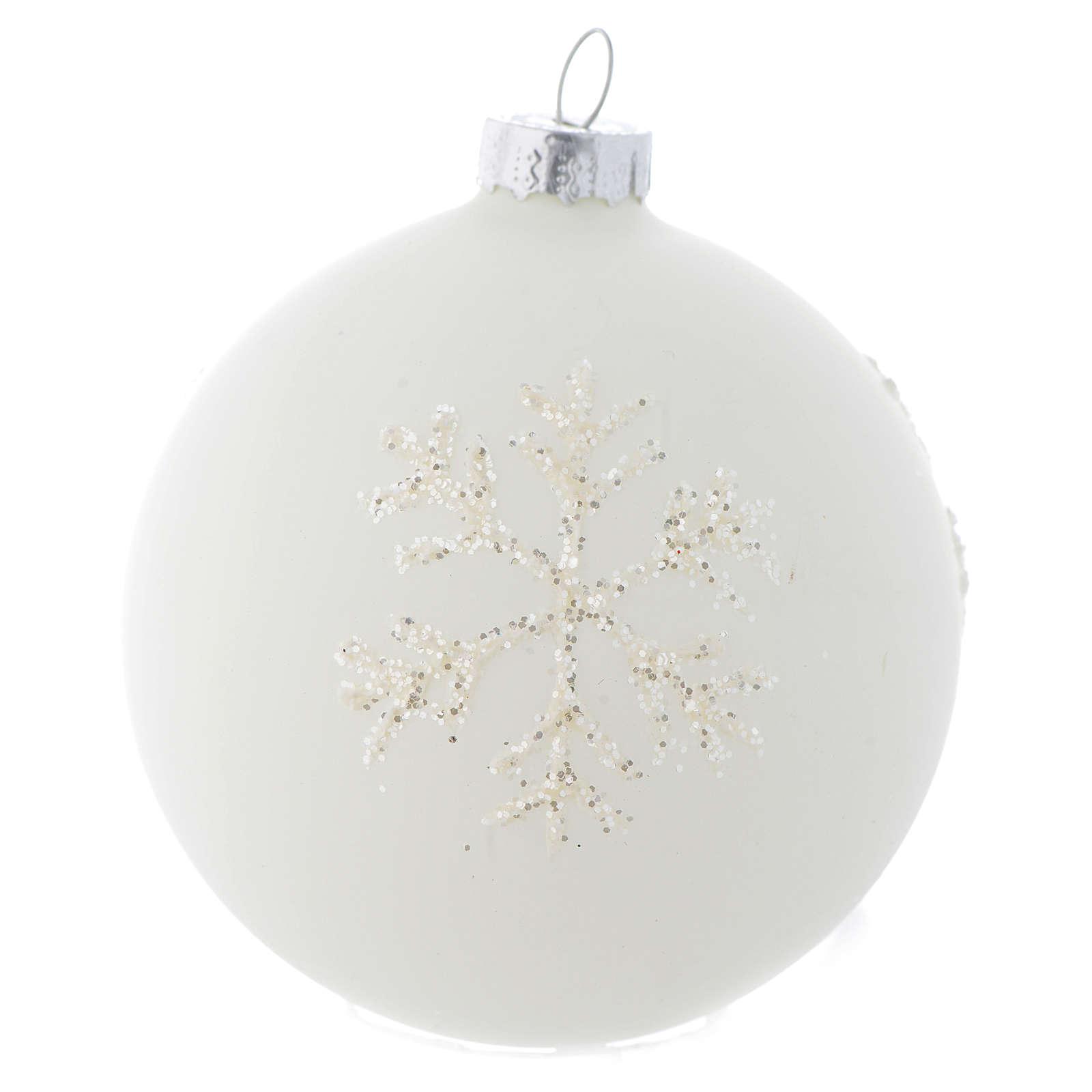 Palla Albero Natale 80 mm vetro bianco sfumato 4