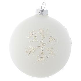 Palla Albero Natale 80 mm vetro bianco sfumato s1