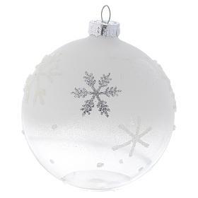Palla Albero Natale 80 mm vetro bianco sfumato s2