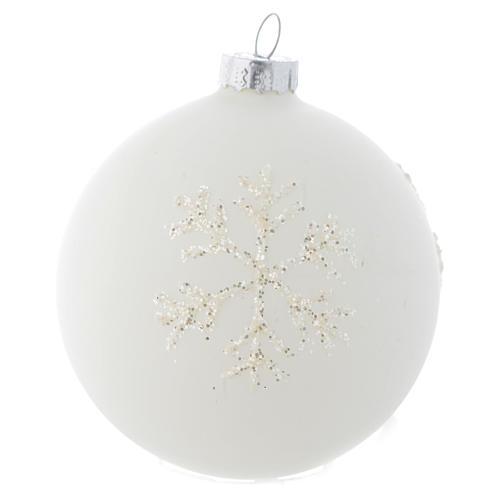 Palla Albero Natale 80 mm vetro bianco sfumato 1