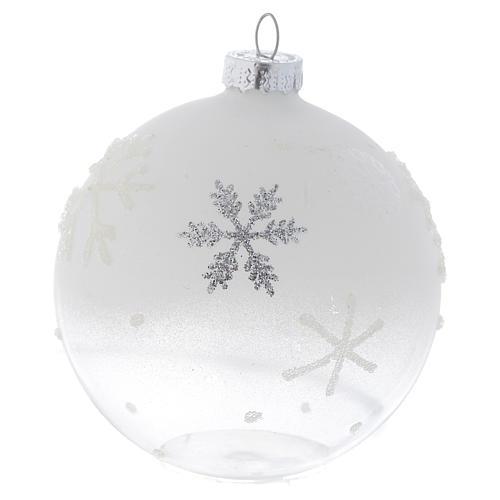 Palla Albero Natale 80 mm vetro bianco sfumato 2