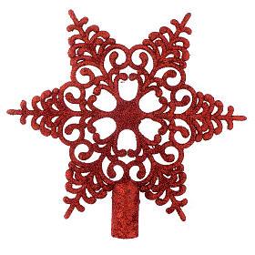Adornos de madera y pvc para Árbol de Navidad: Punta Copo de Nieve rojo para Árbol de Navidad