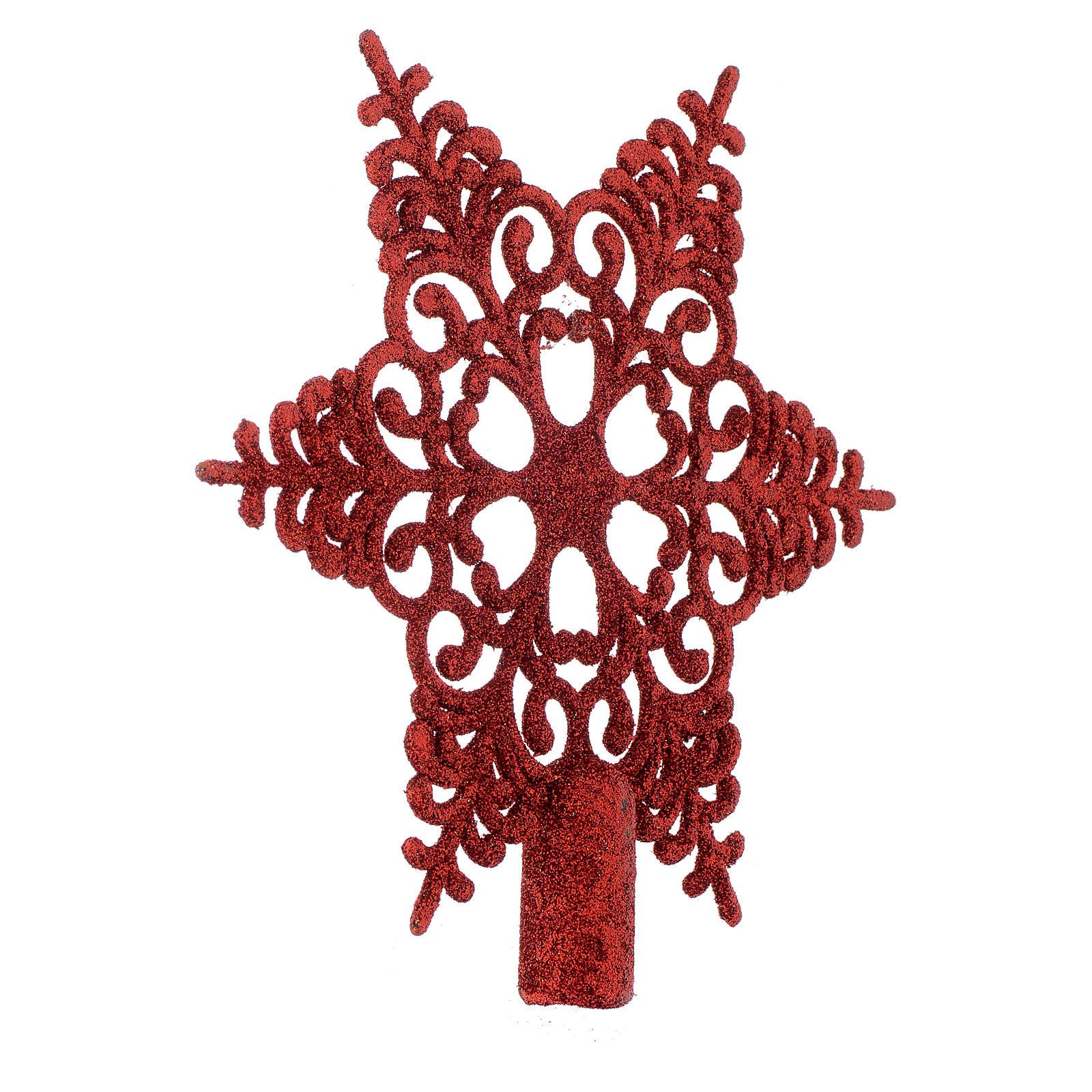 Puntale Albero Natale fiocco di neve rosso 4