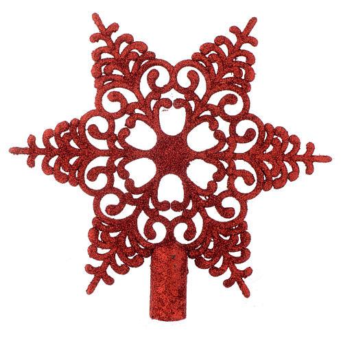 Puntale Albero Natale fiocco di neve rosso 1
