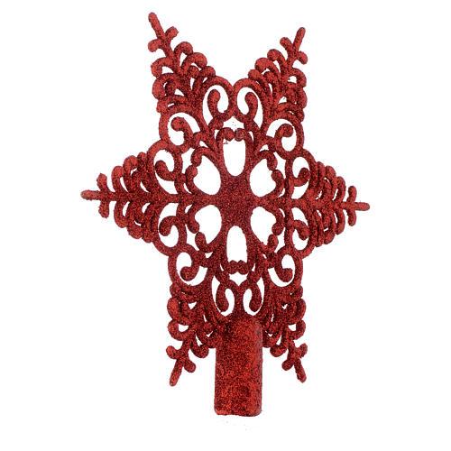 Puntale Albero Natale fiocco di neve rosso 2