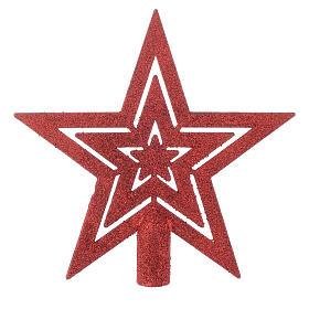 Décorations sapin bois et pvc: Cimier Sapin de Noël forme étoile rouge