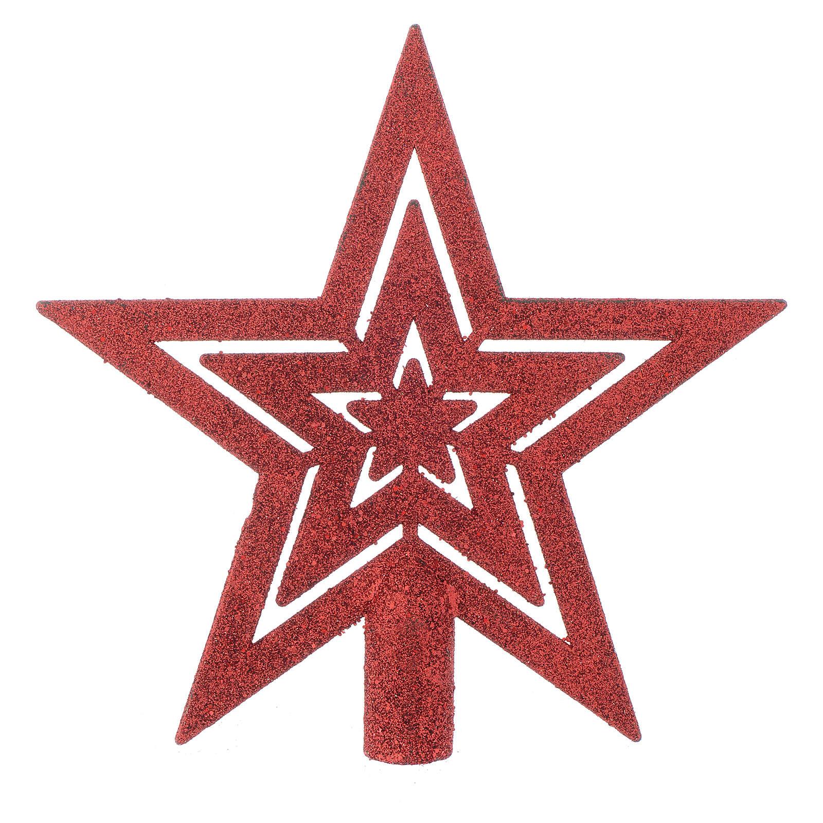 Puntale Albero di Natale forma stella rosso 4