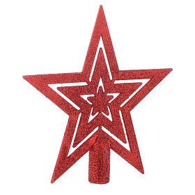 Puntale Albero di Natale forma stella rosso s2