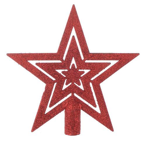 Puntale Albero di Natale forma stella rosso 1