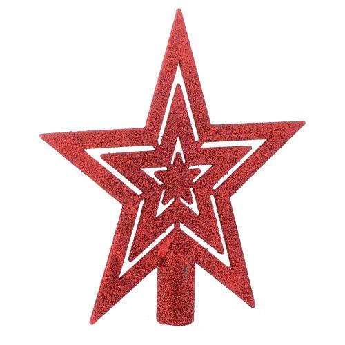 Puntale Albero di Natale forma stella rosso 2