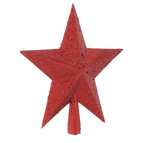 Puntale Albero Natale stella glitter rosso s2