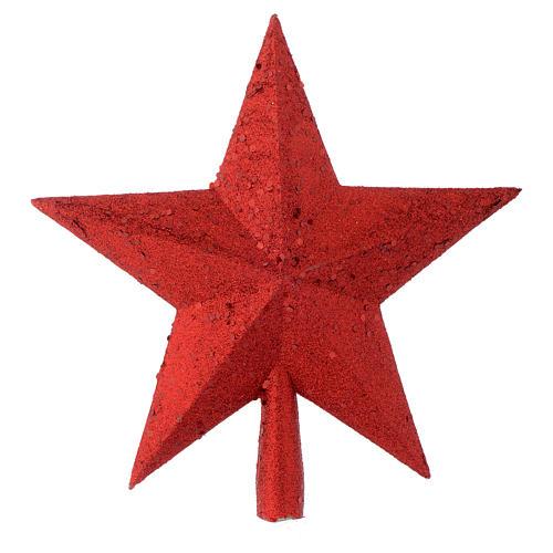 Puntale Albero Natale stella glitter rosso 1