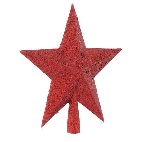 Puntale Albero Natale stella glitter rosso 2