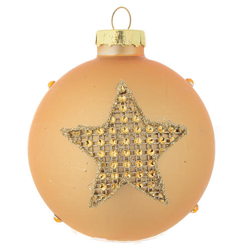 Glass bauble, gold with rhinestones, 70mm diameter 1
