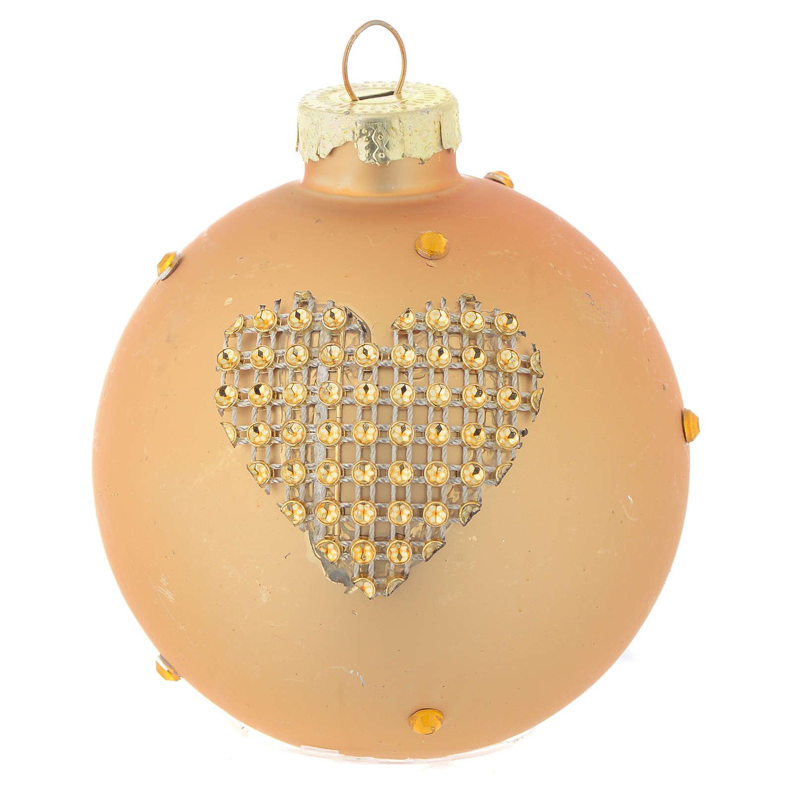 Bola árbol de Navidad vidrio dorado y strass 70 mm 4