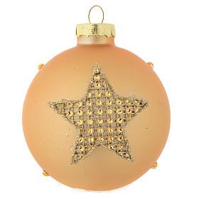 Bola árbol de Navidad vidrio dorado y strass 70 mm s1