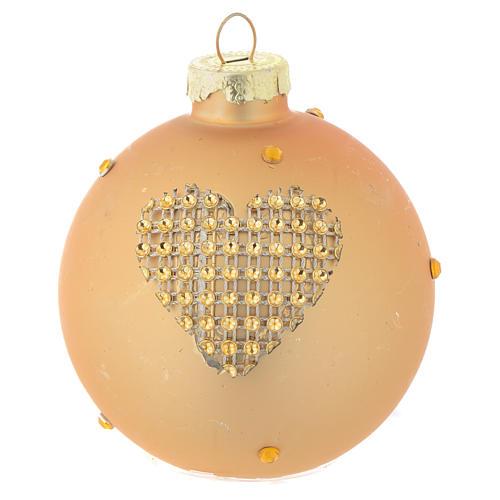 Bola árbol de Navidad vidrio dorado y strass 70 mm 2