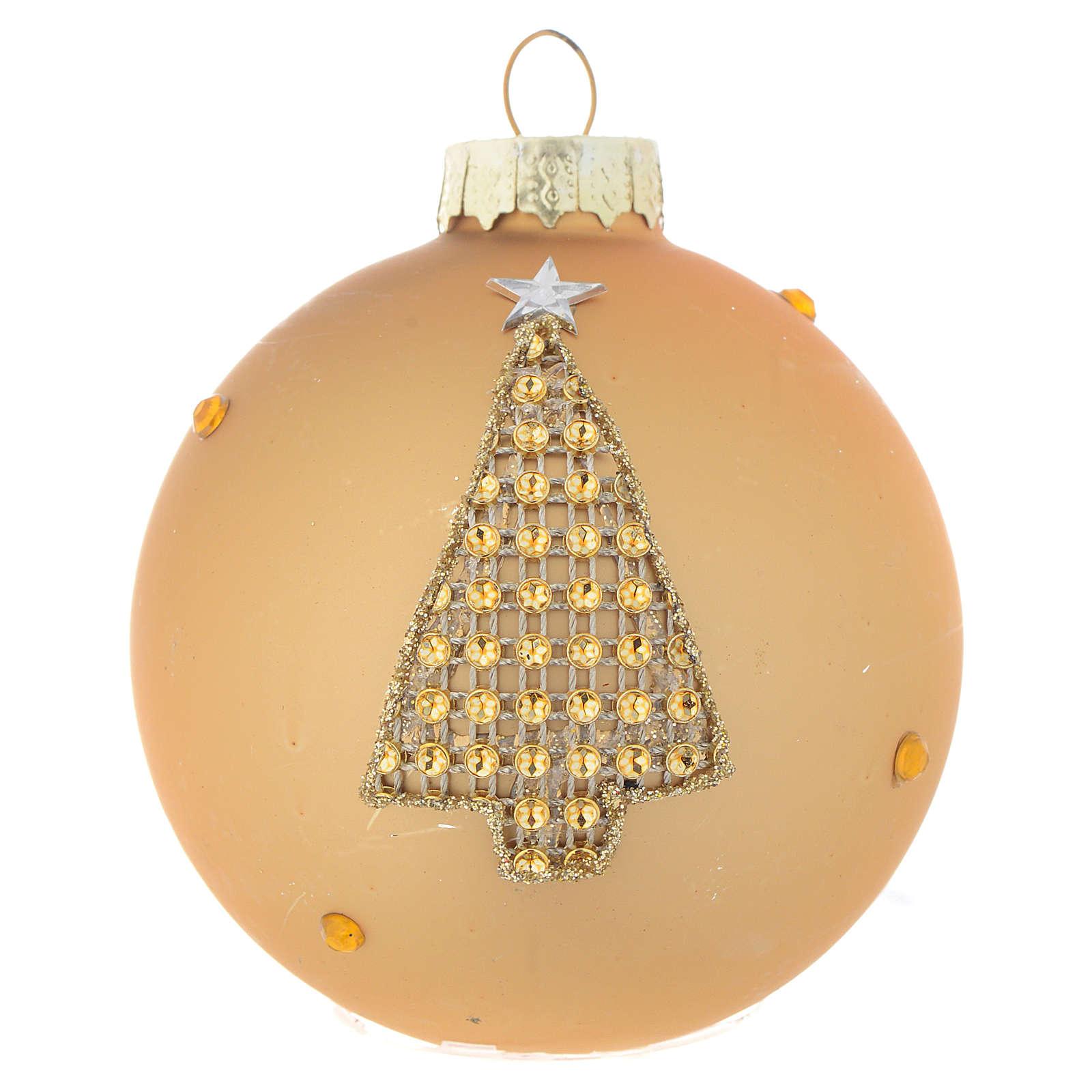 Palla Albero Natale 70 mm vetro oro strass 4
