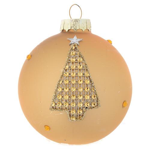 Palla Albero Natale 70 mm vetro oro strass 3