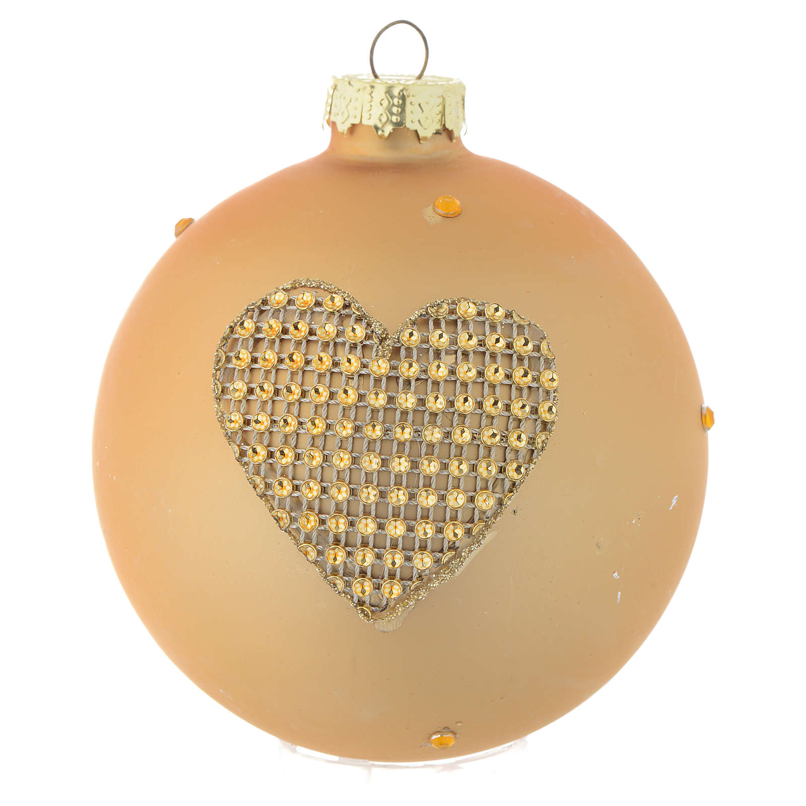Glass bauble, gold with rhinestones, 90mm diameter 4