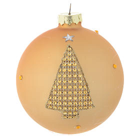 Glass bauble, gold with rhinestones, 90mm diameter s1